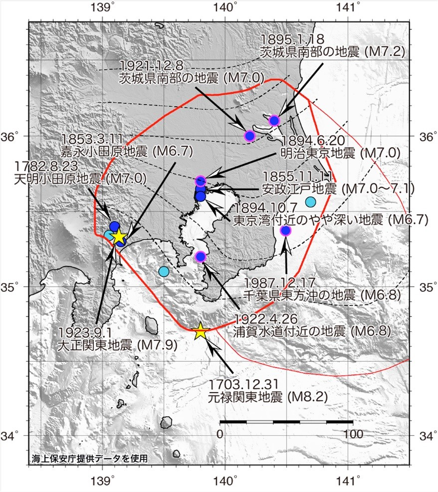 地震範囲図